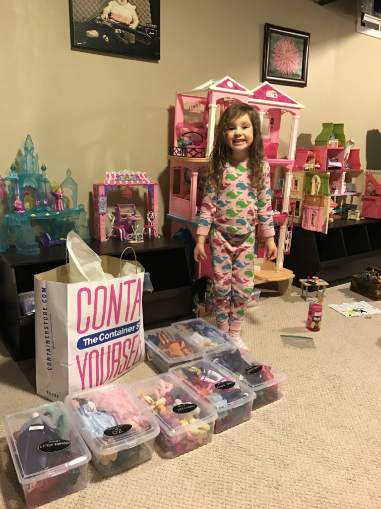 Container store, organizing children's toys, princesses all have a place